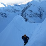 Colin in deep snow on the Knife-Edge Ridge
