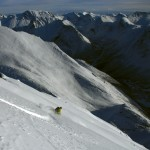 Amund skiing great snow in yhe south face on Nonstind