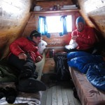 Andreas and Jostein in the small hut at Steinmannen. I was the youngest and had to sleep on the floor.  Normally there is no luxury being a guide