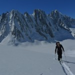 Colin skitouring in the Argentier Basin
