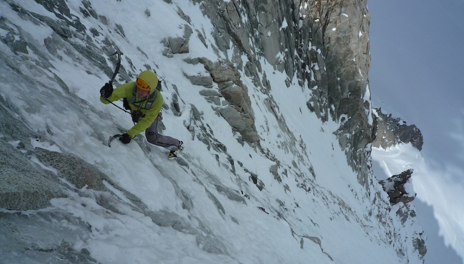 Nils climbing in the Alpes. Photo by Colin Haley