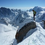 Me on the summit of Droites, trying to find the best way down. Photo by Colin
