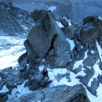 Erik belowe the crux pitch on Frendo Spur