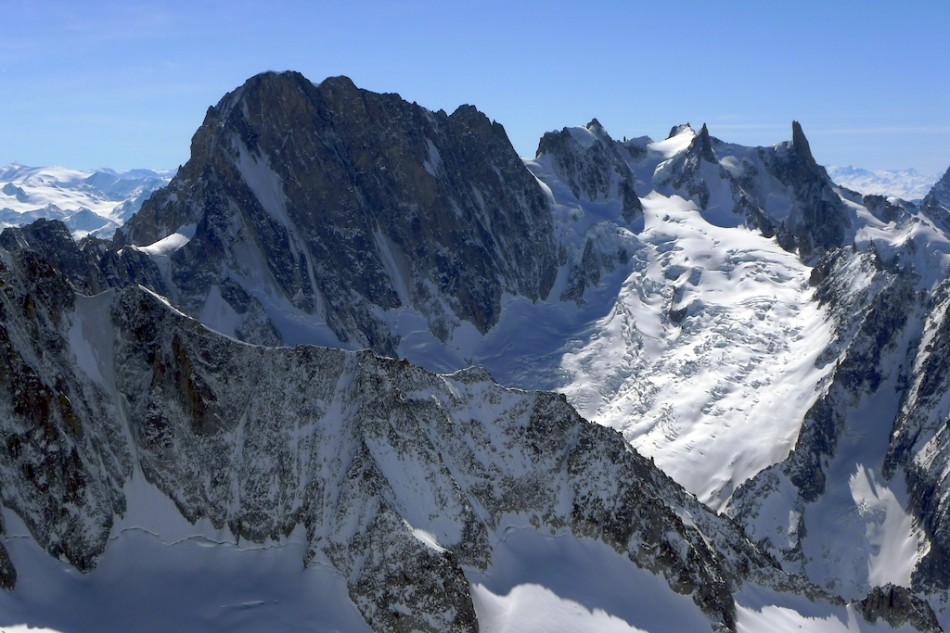 Grand Jorasses seen from Le Courtes, March 2010