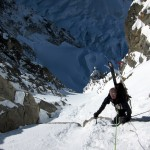 High in the couloir on Brche Puiseux
