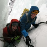 Kjørlifossen - Bjørn and me at a belay. Photo: Jørgen Aamot