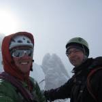 Pawel and me on the top of Petit Verte. Les Drus behind.
