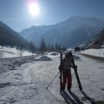 Eva in Trient after skiing from Le Tour