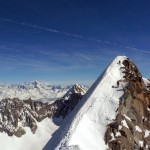 Two climbers close to summit of Les Courtes