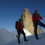 Arete Rochefort. Erik and Richart with Dent du Genat behind