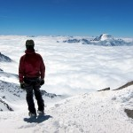 Petter looking toward Aletschhorn and the Monte Rosa massif