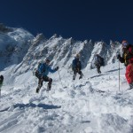 Skiing down from Grands Montets
