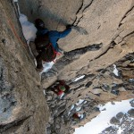 Steep climbing on Dent du Geant