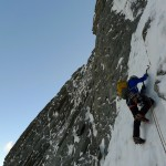 Steinar entering the ice crux