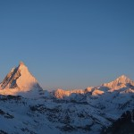 Sunrise on Matterthorn seen from Monte Rosa Hut