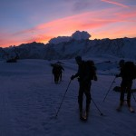 Sunrise on the morning from britannia hut