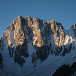 Sunrise on the north face of Grand Jorasses