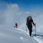 Closed lifts so ski touring to the top of Grands Montets