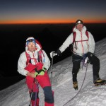 Sunrise on the Three Monts route on Mt. Blanc