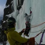 NORTIND ice course - Anders belaying Torgeir