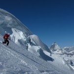 Skiing down from Monte Rosa Gletscher